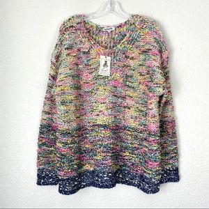 EASEL Soft Loose Knit Multi-Colored  Sweater NWT